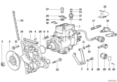 Injection pump/bracket, diesel engine