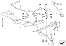 Beam front axle support/wishbone/stabilizer