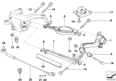 Rear axle support/wheel suspension