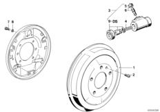 Drum brake-brake drum/wheel brake cyl.