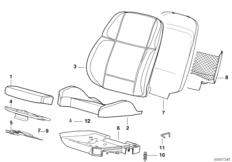 Pad/seat pan of bmw sports seat