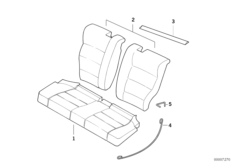 Seat, rear, uphlstry/cover, load-through