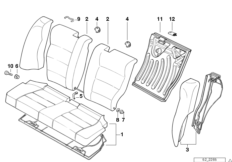 Seat, rear, backrest trim covers