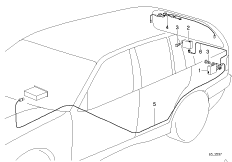 Details of the antenna on the fender/rear window