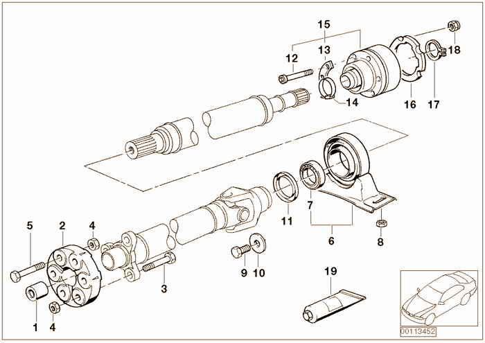 Drive shaft-cent.bearing-universal joint BMW M3 S50 E36 Convertible, Europe