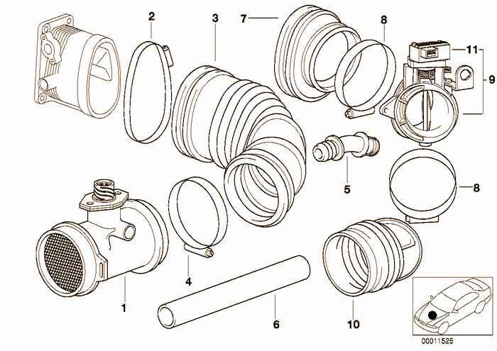 Volume air flow sensor/ASC BMW 318ti M44 E36 Compact, Europe