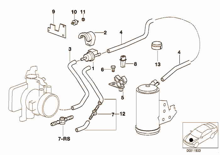 Fuel tank breath.valve/disturb.air valve BMW 318is M42 E36 Coupe, USA