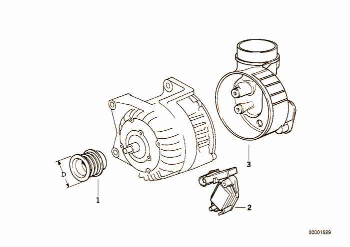 Alternator, individual parts 80A BMW 325i M50 E36 Convertible, USA