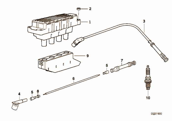 Ignition coil/spark plug BMW 318i M43 E36 Convertible, Europe