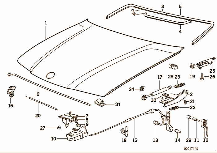 Engine hood/mounting parts BMW M3 3.2 S50 E36 Convertible, Europe