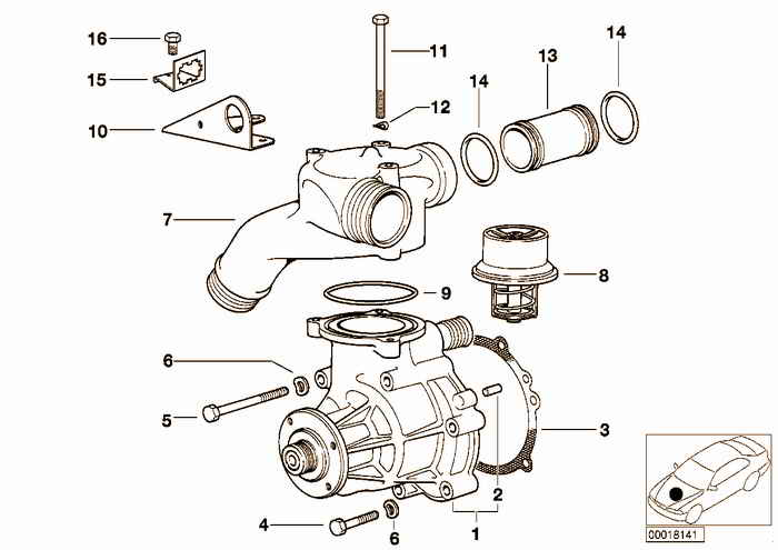 Waterpump — Thermostat BMW M3 S50 E36 Convertible, Europe