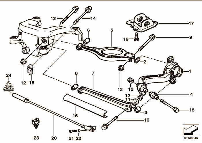 Rear axle support/wheel suspension BMW 318is M42 E36 Coupe, Europe