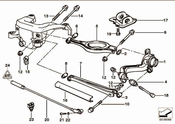 Rear axle support/wheel suspension BMW 325i M50 E36 Convertible, USA