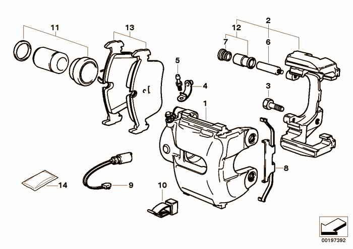 Front brake pad wear sensor BMW 320i M52 E36 Convertible, Europe
