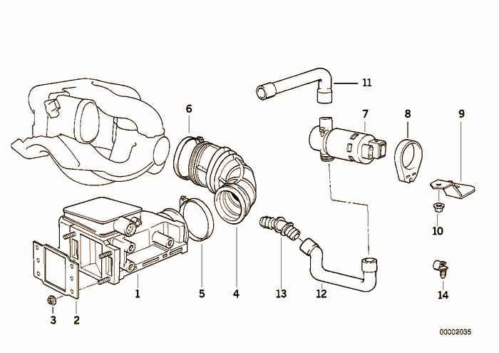 Volume air flow sensor BMW 318is M42 E36 Coupe, USA