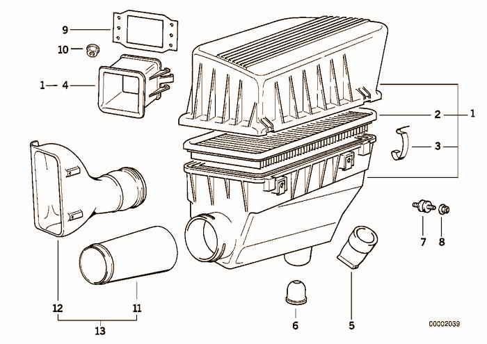 Suction silencer/Filter cartridge BMW 318is M42 E36 Sedan, Europe