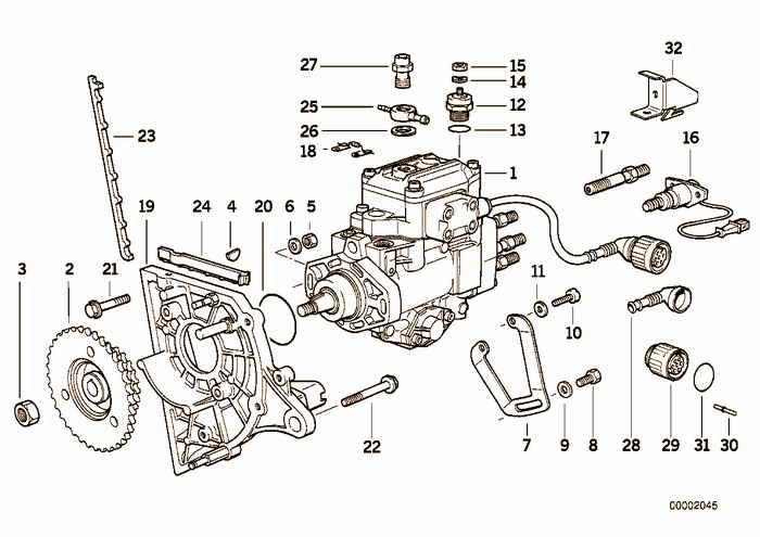 Injection pump/bracket, diesel engine BMW 325tds M51 E36 Sedan, Europe