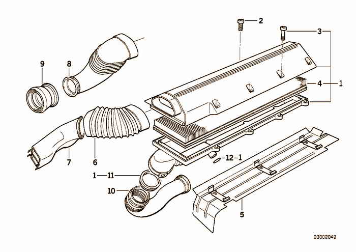 Suction silencer/Filter cartridge BMW 325tds M51 E36 Touring, Europe