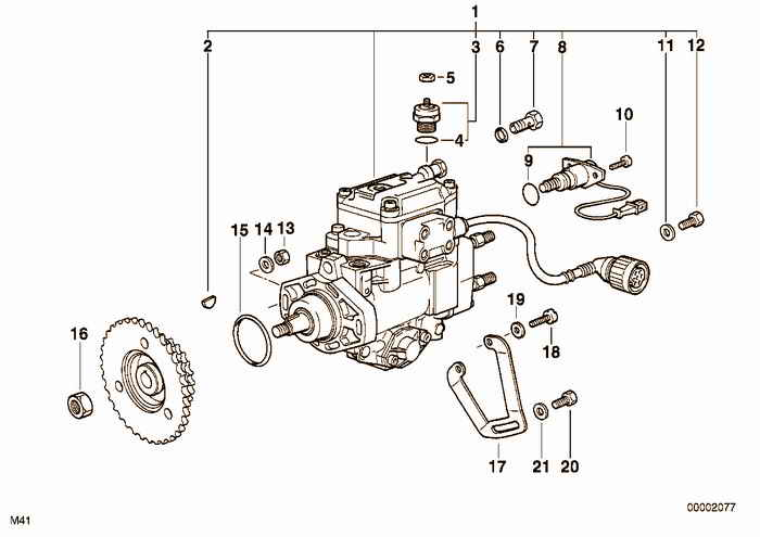 Injection pump diesel engine BMW 318tds M41 E36 Touring, Europe