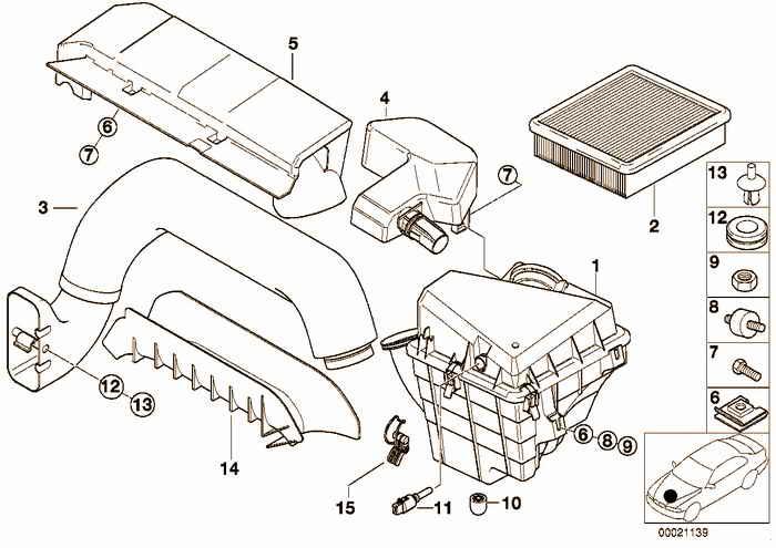 Suction silencer/Filter cartridge BMW 318ti M44 E36 Compact, Europe