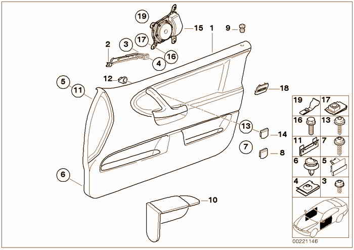 Door trim panel, front BMW 318i M42 E36 Convertible, USA