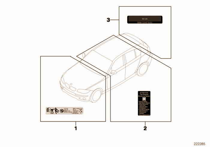 Various notice stickers BMW 316i M43 E36 Sedan, Europe