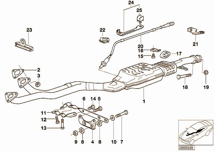 CATALYST / Front silencer BMW 320i M50 E36 Sedan, Europe