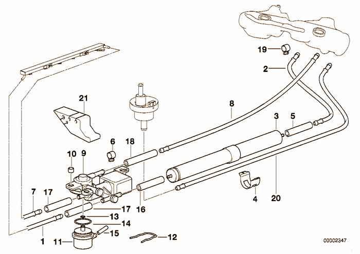 Fuel pipe BMW 323i M52 E36 Convertible, USA