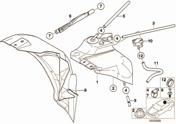 Expansion tank/tubing/pressure sendor BMW 323i M52 E36 Convertible, USA
