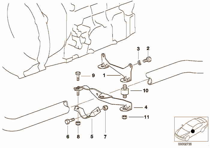 Suspension parts exhaust BMW 318is M44 E36 Coupe, Europe