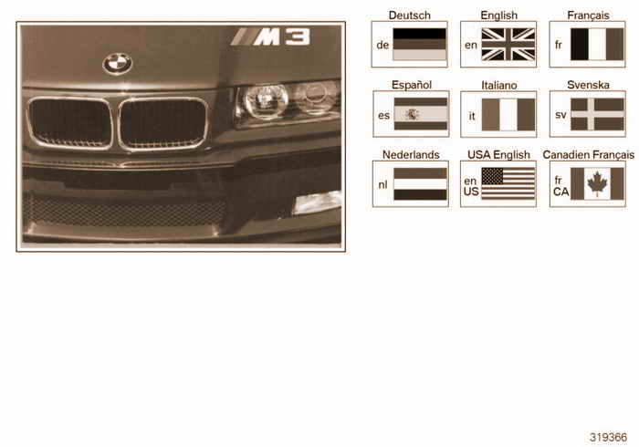 Owners handbook E36 M3 BMW M3 3.2 S52 E36 Coupe, USA