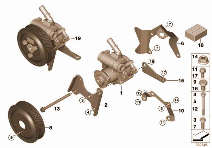 Power steering pump BMW 328i M52 E36 Coupe, USA