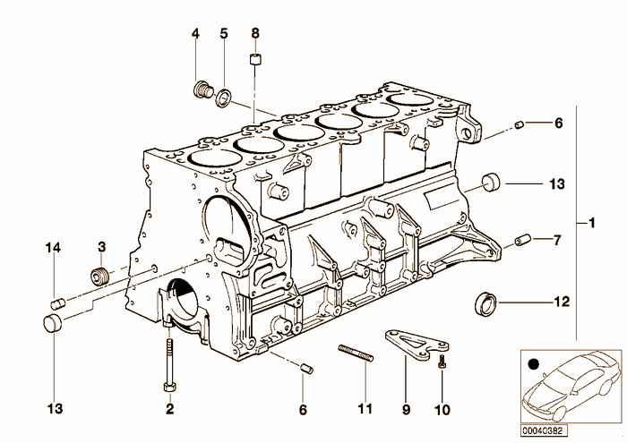 engine block bmw e36 328i m52, sedan, usa (каталог запчастей)  bmw e36