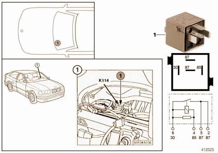 Relay, comfort, K114 BMW 318i M43 E36 Convertible, Europe