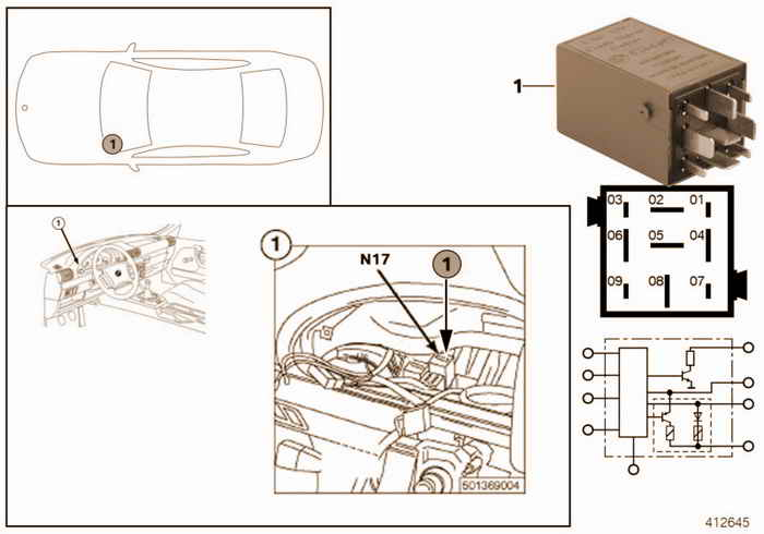 Relay for crash alarm N17 BMW 323i M52 E36 Convertible, Europe