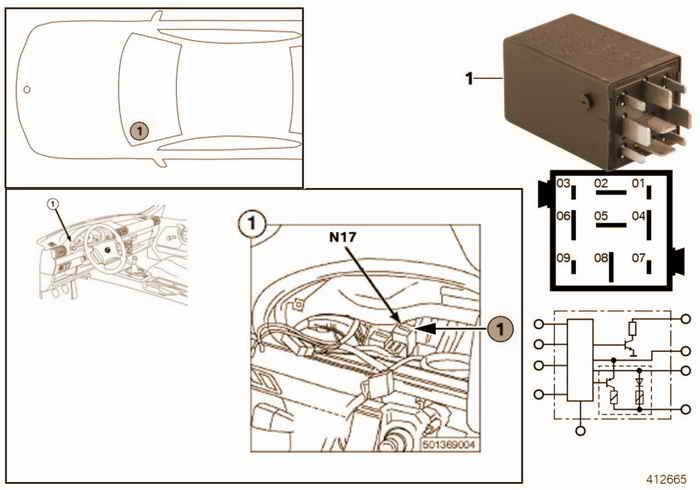 Relay for crash alarm N17 BMW 318i M43 E36 Convertible, Europe