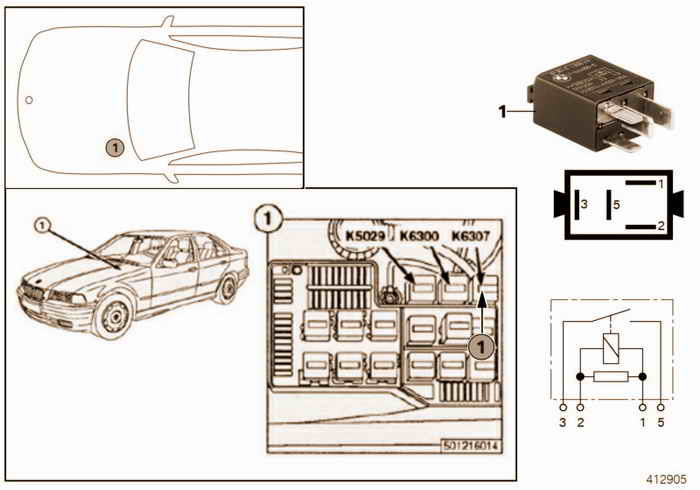 Relay for start detection K6307 BMW 323i M52 E36 Convertible, Europe