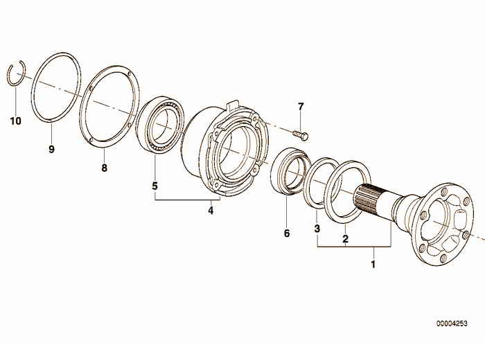 Drive flange suspension/gasket BMW 318is M42 E36 Coupe, Europe