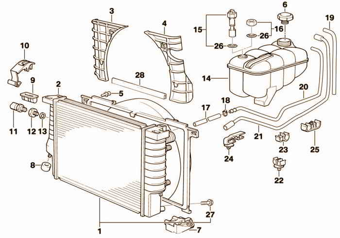 Radiator/expansion tank/frame BMW M3 3.2 S50 E36 Sedan, Europe