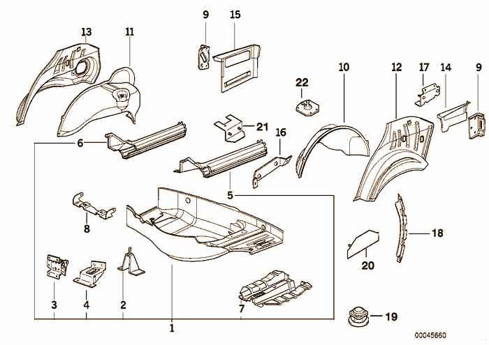 Floor panel trunk/wheel housing rear BMW M3 3.2 S50 E36 Convertible, Europe