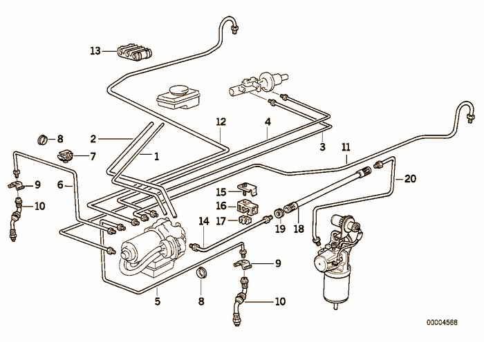 Brake pipe front abs/asc+t BMW 325i M50 E36 Convertible, USA