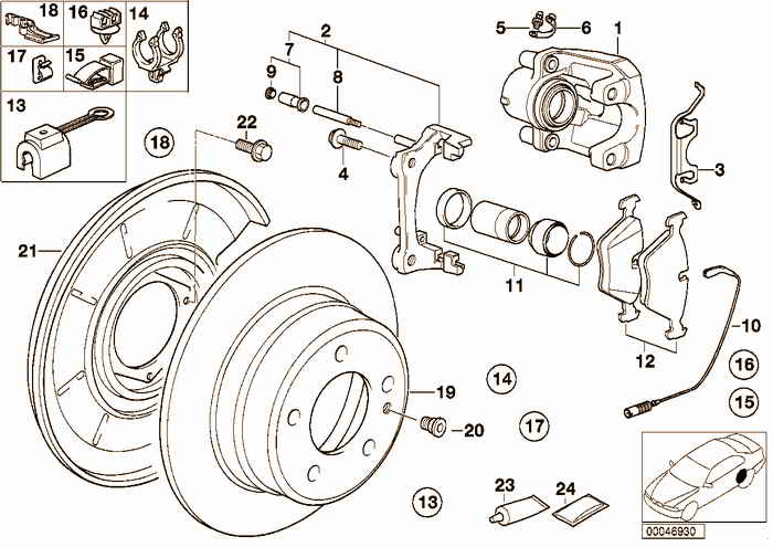 Rear brake / brake pad / wear sensor BMW 328i M52 E36 Convertible, Europe