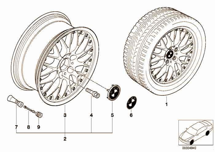 BMW l-alloy wheel, cross spoke comp.II 42 BMW M3 S50 E36 Coupe, Europe
