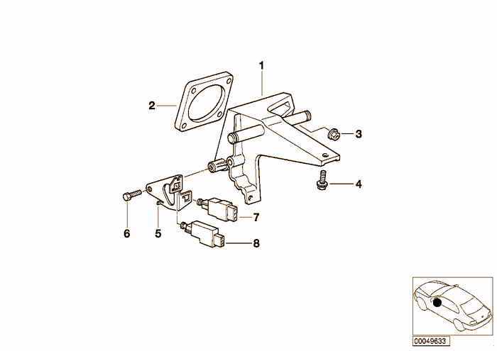 Pedals-supporting bracket BMW 316i M43 E36 Sedan, Europe