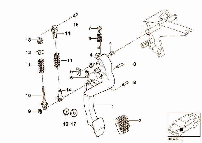 Pedals-supporting bracket/clutch pedal BMW 316i M43 E36 Sedan, Europe