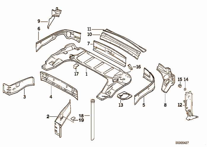 The compartment for the convertible top BMW M3 S50 E36 Convertible, Europe