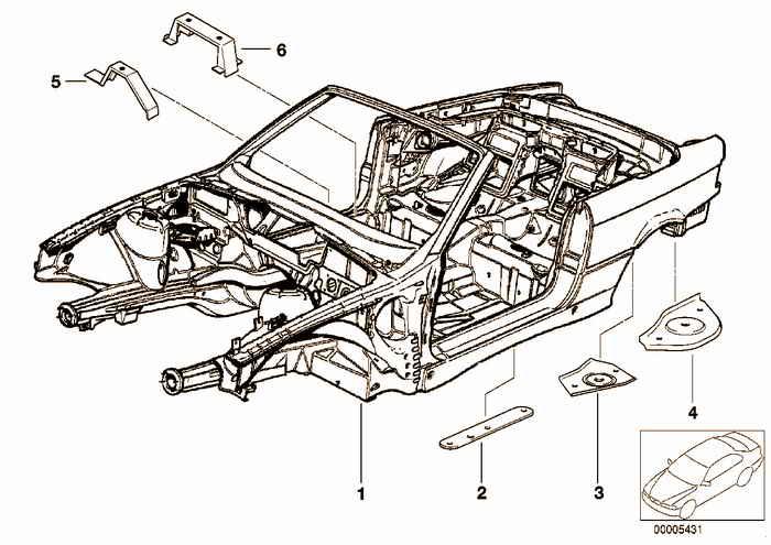 Body skeleton BMW M3 3.2 S50 E36 Convertible, Europe