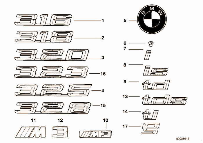 Emblems / letterings BMW 318i M42 E36 Convertible, USA