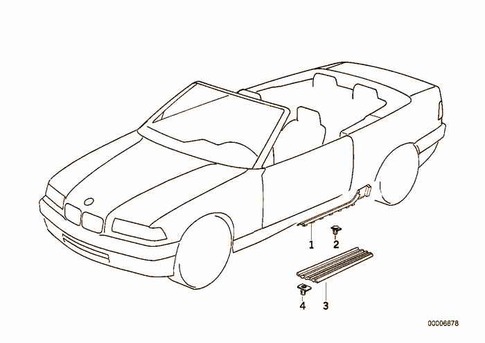 Sill trim strip BMW 318i M42 E36 Convertible, USA