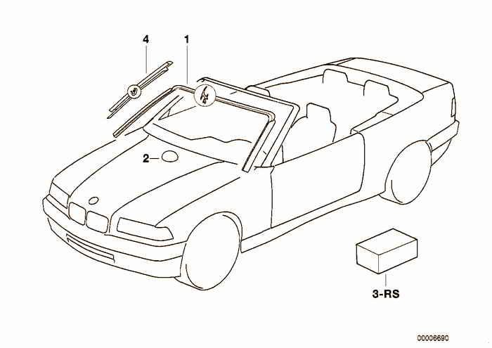 Window mounting parts BMW 318i M42 E36 Convertible, USA